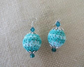 Blue Stripes Crochet Wrapped Drop Earrings