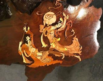Hand curving- Miniature art-Wood wall Art-Wood Art-Springtime of love 11x15