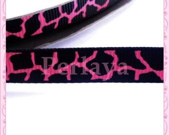 1 meter Ribbon grosgrain 9 pink and black giraffe pattern