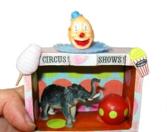 Circus Art, Original Mixed Media Art, Assemblage Art, Miniature Diorama, Shadowbox Art, Clown Artwork, Circus Decor, Shadow Box Art