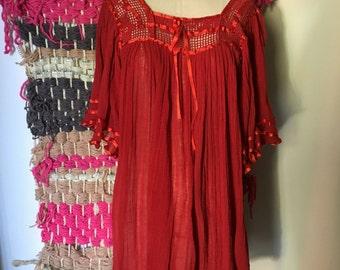 Vintage red gauze crochet gypsy dress