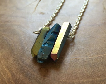 Mermaid - necklace with a beautiful bar pendant, crystal / quartz. Metallic titanium. Blue, green, gold. Gemstones, rocks, minerals, boho