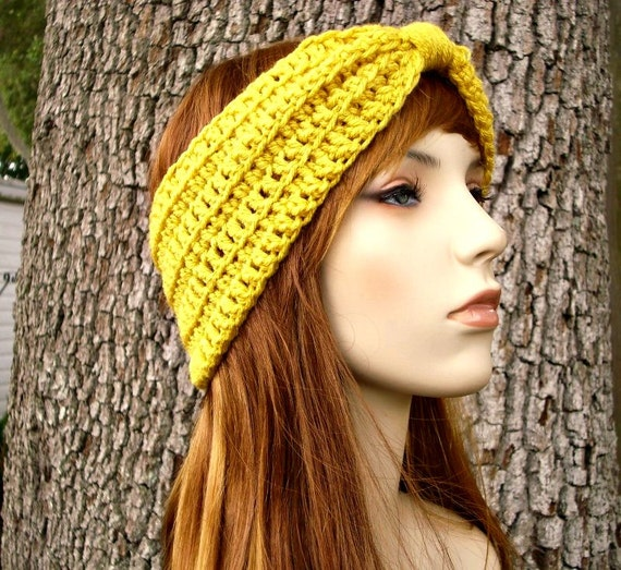 Womens Crochet Headband - Crochet Turban Headband in Marigold Mustard Yellow Headband Womens Accessories