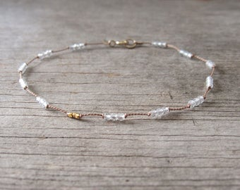 tiniest CLEAR QUARTZ bracelet hand knotted with 24k gold nugget beads April birthstone bracelet dainty delicate layering minimalist beaded