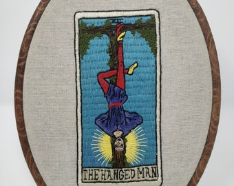 The hanged man tarot card embroidery