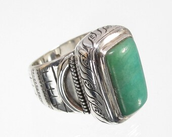 Natural Chrysoprase Statement Ring Sterling Silver  SIZE 7 (RNG24)