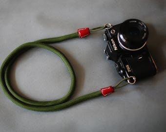 red leather Green Climbing rope 10.5mm handmade Camera neck strap
