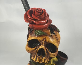 Tobacco Hand Made Pipe, Skull Rose in Mouth Design.