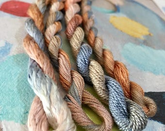 Silk Embroidery Thread for Needlework, Embroidery, Stumpwork hand dyed in Mallee Gum
