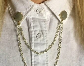 Two drop chain circular collar clip