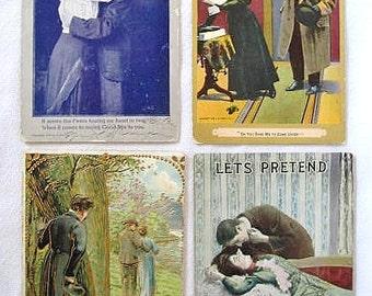 4 Victorian Turn of the Century Romantic Postcards