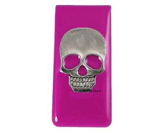 Sugar Skull Head Metal Money Clip Inlaid in Hand Painted Enamel Fuchsia Opaque Glossy Finish Personalized and Color Options