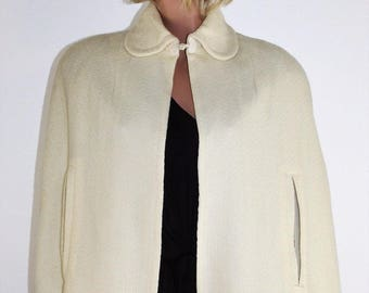 Vintage 60's 70's Short Ivory Wool Knit Cape Wrap Shawl - Size Small