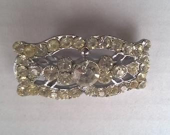 Vintage bar brooch, brilliant white rhinestones, costume jewellery, pin