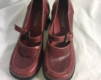 Vintage 90s Oxblood Red Chunky Mary Janes Heels by Two Lips 5 1/2