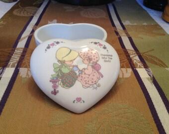 "Precious Moments Box, 1984, ""Friendship hits the spot"", Friends Having Tea, Enesco Trinket Box, Enesco Precious Moments Porcelain Heart Box"