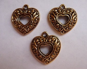 SALE!! Charm, Antiqued, Gold Finished, Pewter,  zinc based alloy, 20x19mm, single sided, open heart, with swirls, Pack Of 5 charms. SALE!!