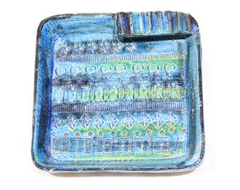 Vintage Rare RIMINI BLUE Aldo Londi for BITOSSI Ceramic Ashtray, Italy