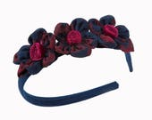 Blue and Red Headband for Girl - 3 Cloth Flowers Design on the Side -  Girls Hair Accessorie Floral Design - Grosgrain Red Detail - Handmade