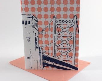 Philadelphia Letterpress Card   Benjamin Franklin Bridge   navy & coral single blank greeting card with envelope