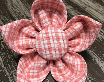 Bow Tie or Flower Collar Attachment & Accessory for Dogs and Cats / Orange Salmon Gingham