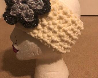 Ivory Super Soft Ear Warmer - Gray Flower