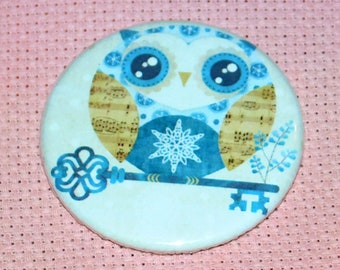 CLEARANCE, Seconds stock, Owl Winter Needle Minder, Licensed, Cross Stitch Keeper, Sandra Vargas, Fridge Magnet, Button Magnet, Pin Holder