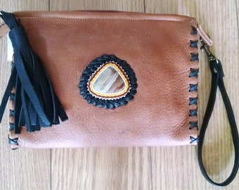Brown and Black Leather Clutch Bag