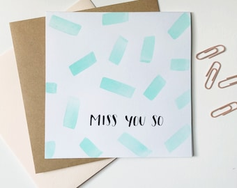 Miss You So | Watercolor card