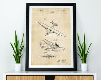 Seaplane Patent Print / Seaplane Art / Aircraft Art / Airplane Print / Airplane Poster / Aviation Art / Pilot Gifts / Aviation Wall Art