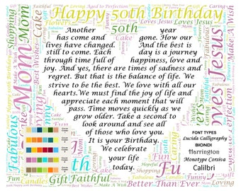 50th Birthday Gifts Poem Gift For Her Him Wife Husband Son Daughter Grandpa Grandma 8 X 10 Print