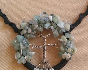 Hemp Tree of Life Aquamarine Gemstone Necklace