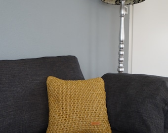 crocheted Cushion StonewashXL Ochre Yellow