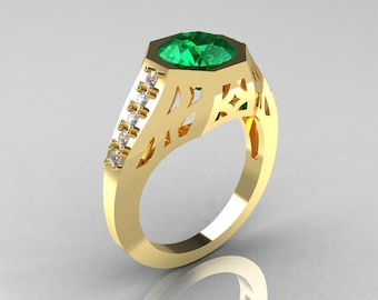 Modern Edwardian 18K Yellow Gold 1.5 Carat Emerald Diamond Engagement Ring R155-18KYGDEM