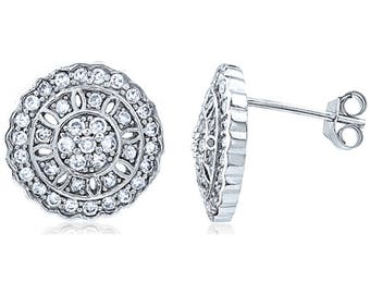 Silver and Post Women's Sterling Silver CZ Round Stud Earrings, High Quality Design, Bamboo Gift Box Included