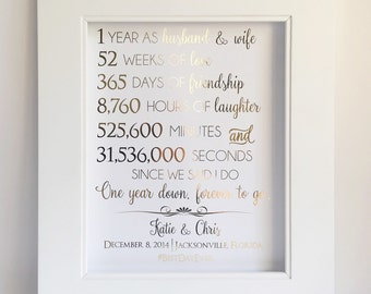 First 1st Anniversary Gift - Anniversary Gift - For Husband or Wife - Customizable - Real Gold Foil Print - Paper Anniversary