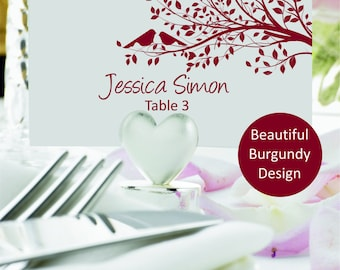 Wedding place card template, Wedding seating card, Burgundy flat escord carts, Place cards, Table Number, Name Card, Seating Card