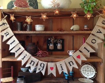 Falling in Love Burlap Bunting, Fall Burlap Bunting, Autumn Garland, Autumn Bunting, Fall Bunting, Autumn Wedding Decor, Fall Bridal Shower