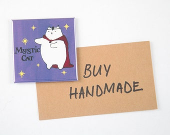 """MAGNET: """"Mystic Cat"""" featuring a Cat in a Red Cape with a Crystal on his Forehead"""