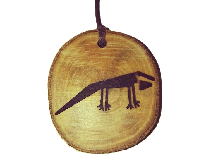 Nazca Lines Peru Geoglyph Iguana  Handmade Wooden Engraved Necklace Pendant Charm  #Nazca #Geoglyph