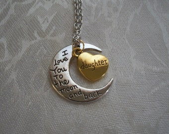 I Love You To The Moon and Back Silver & Bronze Half Moon Necklace with Mom, Grandma, Daughter Heart charm, Brendas Beading on Etsy