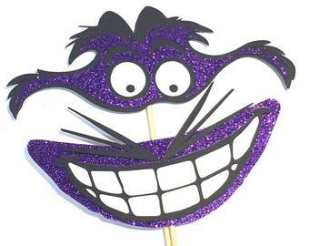 Photo Booth Props -  Alice In Wonderland Cheshire Cat Grin Glitter Purple