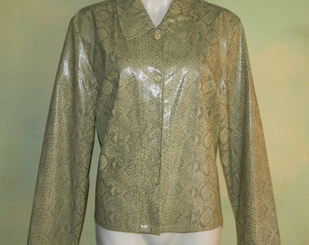 L 16 Snakeskin Print Victoria Moon Vinyl Jacket Wet Look 80s