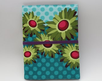 Notepad Organizer -  Patty Young Teal Flora and Fauna Fabric (Notepad Included)