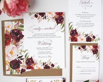 Burgundy Wedding Invitations - Burgundy & Blush - Wedding Invitations - Rustic Script Collection Deposit