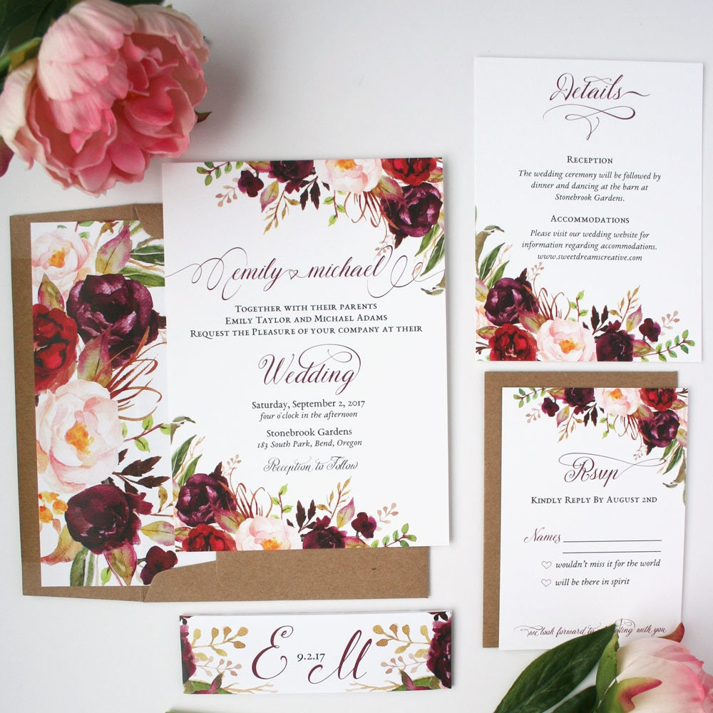Rustic Burgundy Purple Floral Script Wedding Invitations: Burgundy Wedding Invitations Burgundy & Blush Wedding