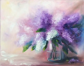 Lilacs painting ORIGINAL still life flower painting lilac 20*16 inches oil on canvas Nadia Gurkova