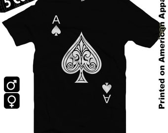 Ace of Spades American Apparel Men/Women T-shirt S-XXL, Funny, Playing Card, Gambling, Poker, Black Jack, Magic,  Cool Gift!