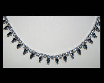 1950s sapphire & aquamarine blue Swarovski crystal rhinestone chain necklace ~ Sherman Made in Canada ~ sparkling party or day jewellery