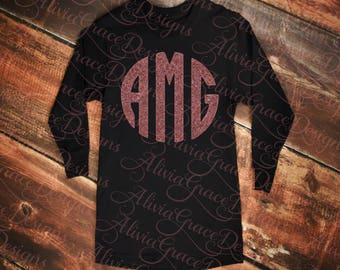 Women's long sleeve monogram t-shirt
